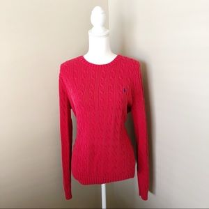 RALPH LAUREN Womens Red Cable Knit Sweater XL